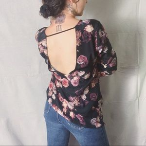 aritzia. WILFRED Silk Floral Open Back Blouse